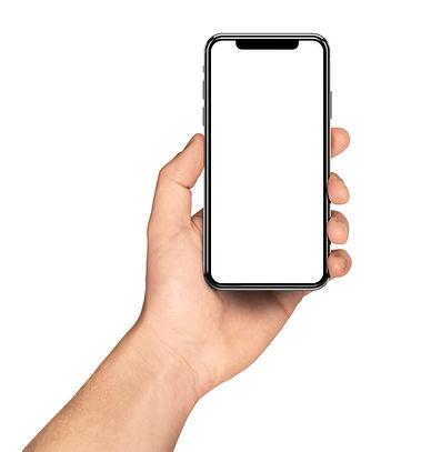 Smartphone frameless in hand blank scree