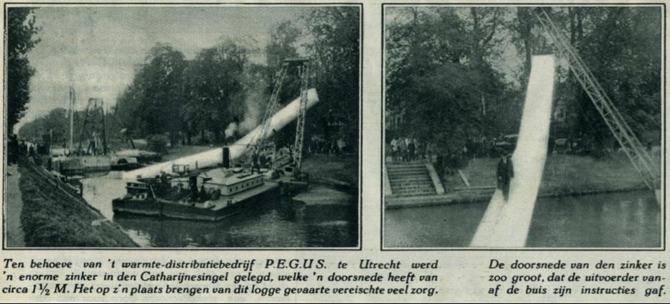Krantenbericht jaren '30 – aanleg leiding Catherijnesingel (bron: het utrechts archief)