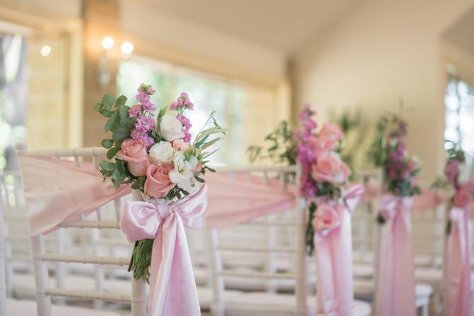 wedding pewside flowers
