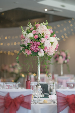Fairy lights and flower centrepiece