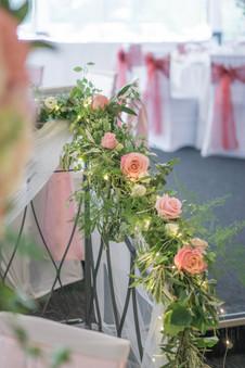 flowers on handrail