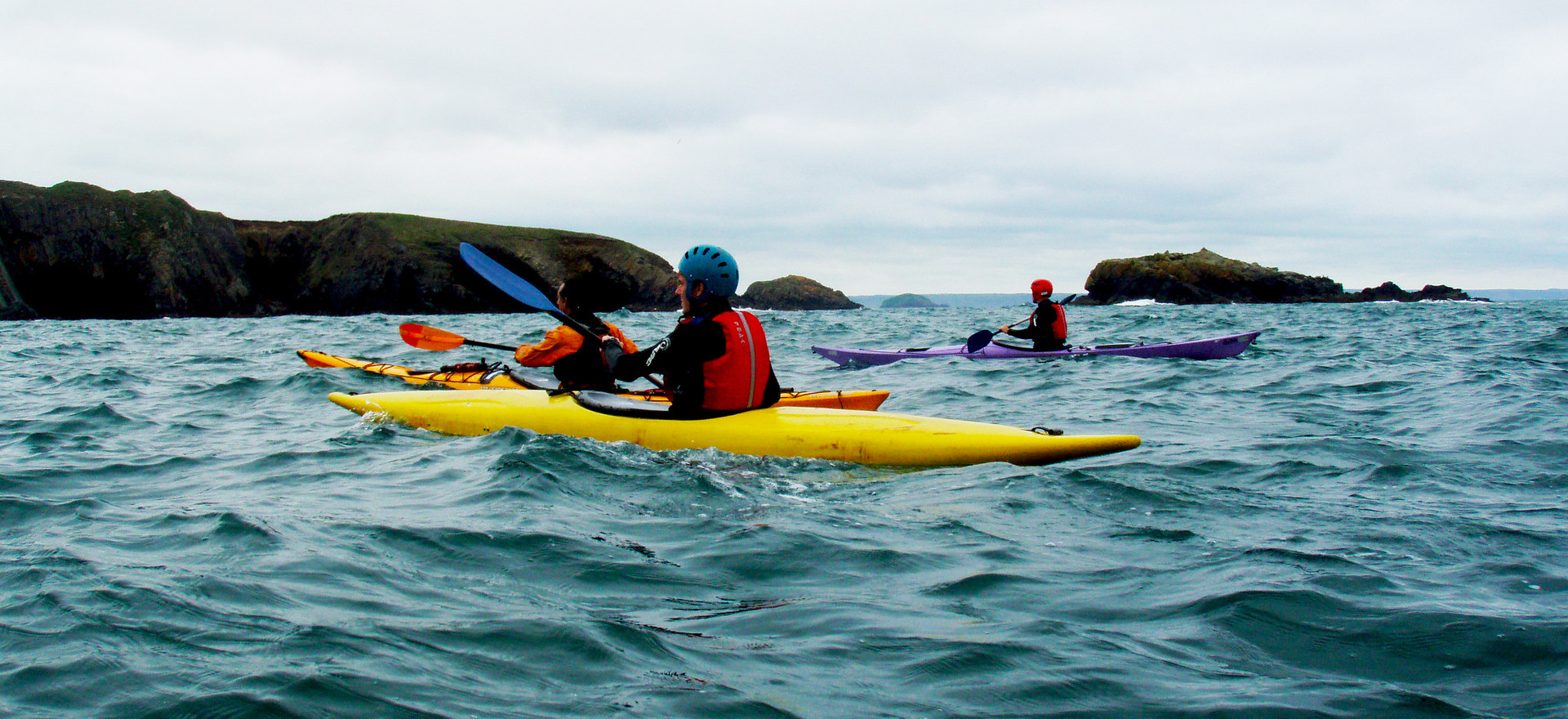 Kayaking off the coast of Wales
