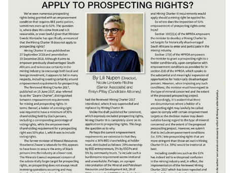 Does Mining Charter III Really Not Apply To Prospecting Rights?