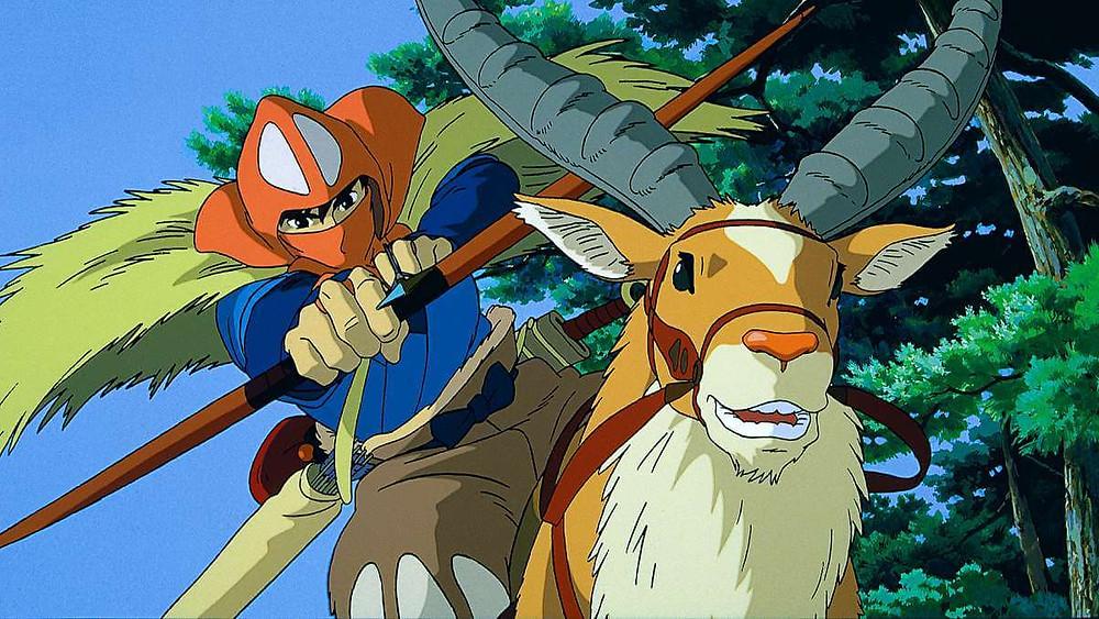 A Japanese prince shooting an arrow while riding a stag. Taken from the anime film Princess Mononoke.