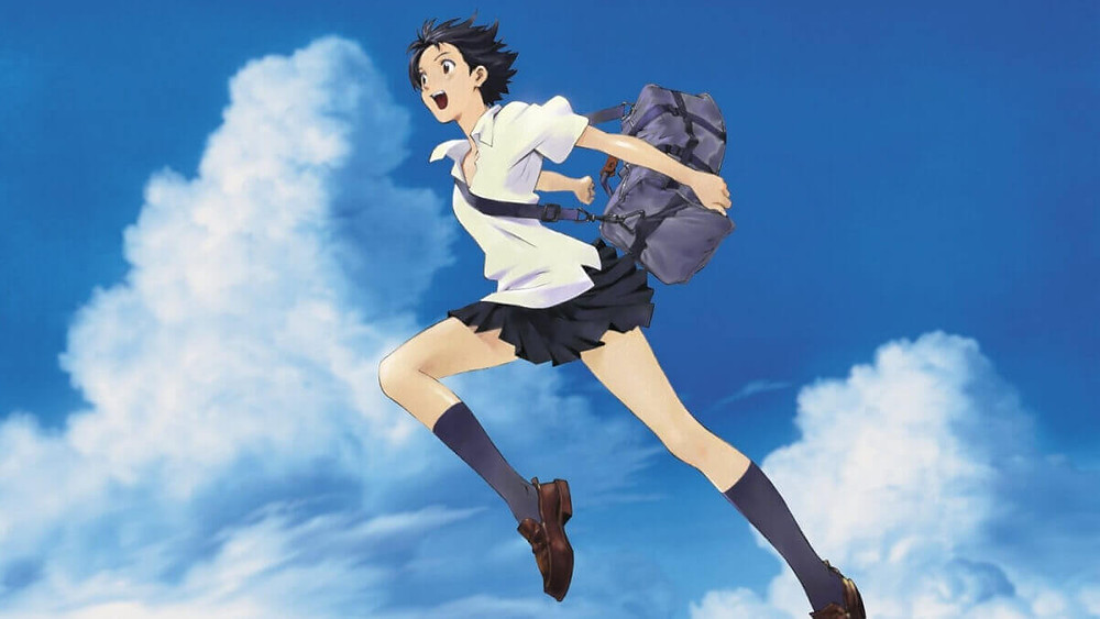 The Girl who Leapt through Time, Momoko, is jumping to the sky.