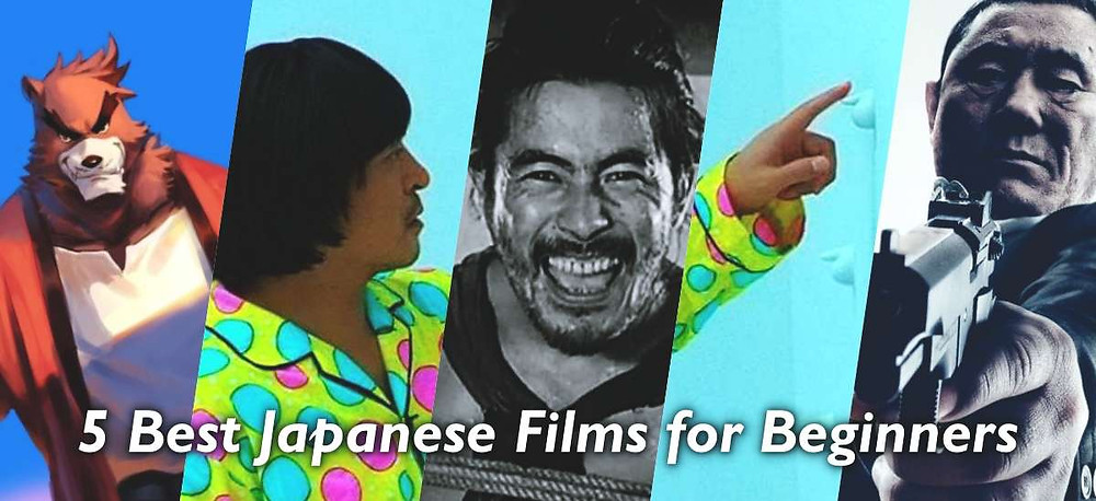 Banner displaying 5 images from the 5 best Japanese films for beginners.