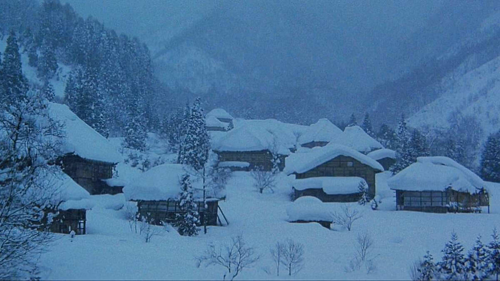 Japanese village in the middle of snowy mountains.