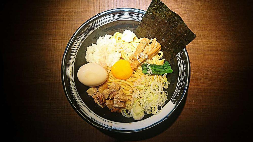 Bowl of soupless ramen at Menya Buraiton in Tokyo.
