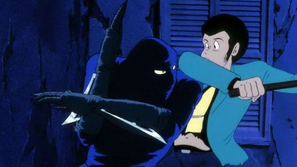 Lupin the Third fighting a ninja. From the anime «The Castle of Cagliostro».
