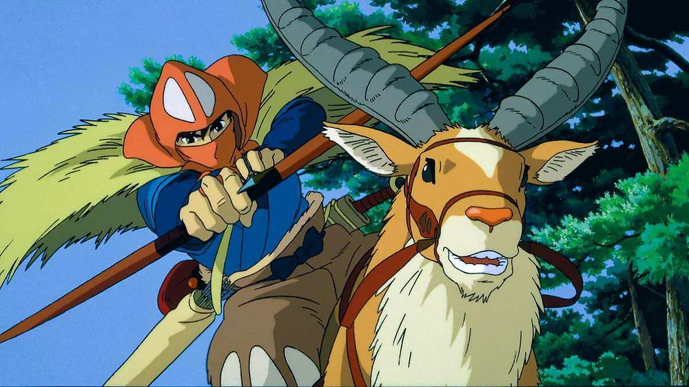 A Japanese prince shooting an arrow while riding a stag. Taken from the anime film Princess Mononoke.