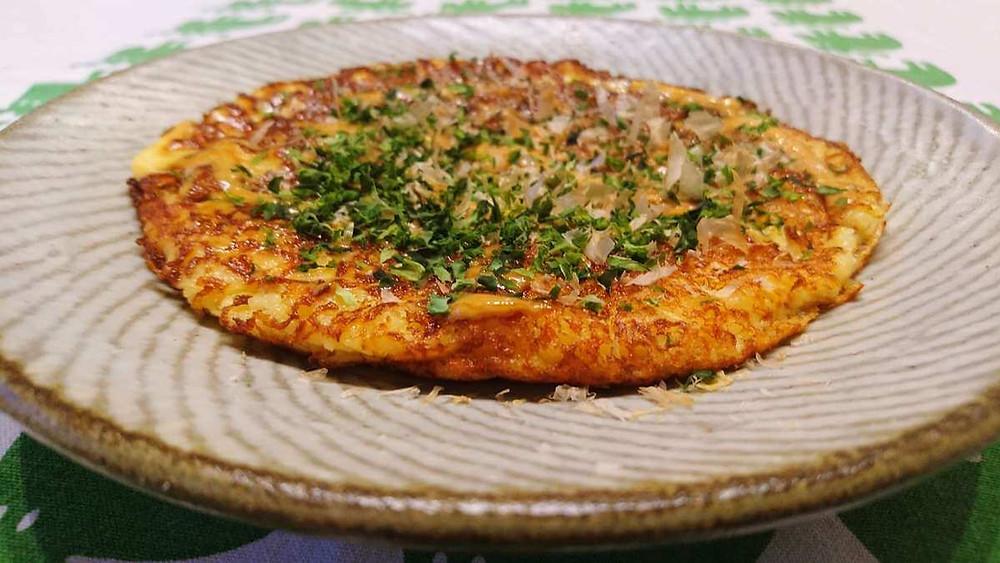 Okonomiyaki (Japanese savory pancake) made with Mountain Yams (Gluten Free).