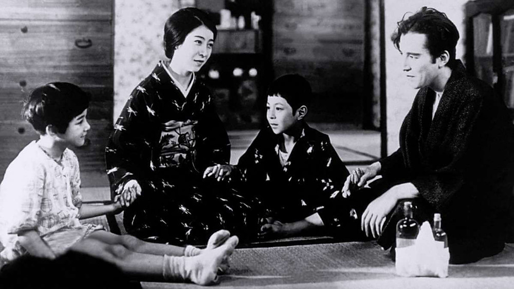 A Japanese nuclear family in the 1930s. Taken from the film Tokyo Chorus by Yasujiro Ozu.