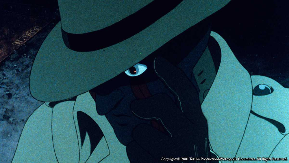 An investigating robot who looks just like a detective from a film noir movie. Taken from the anime film Metropolis (2001).