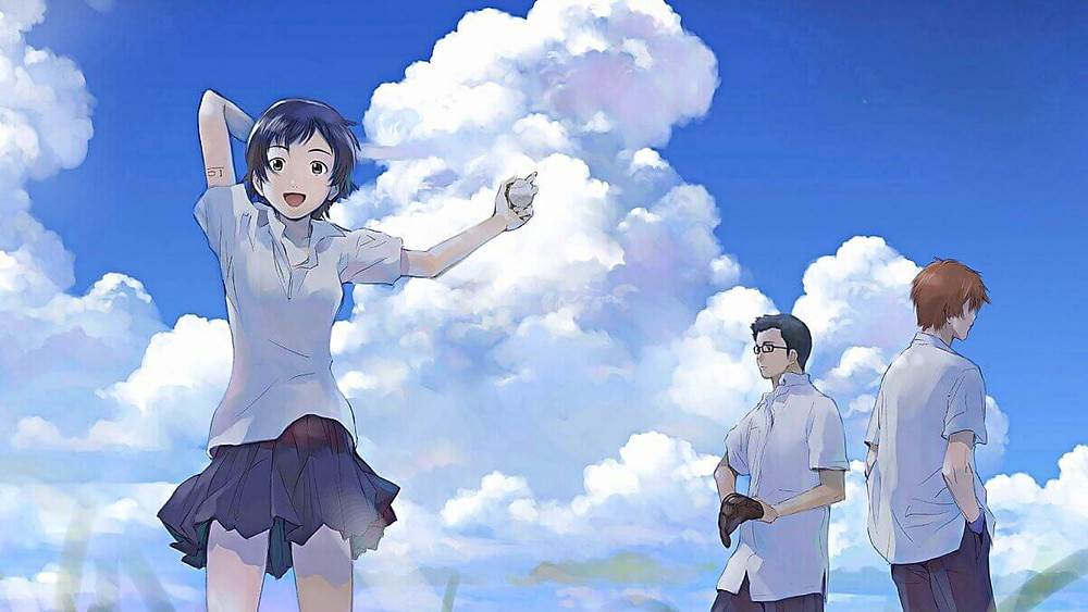 The Girl who Leapt through Time, Momoko, is standing under open sky together with her two male friends.