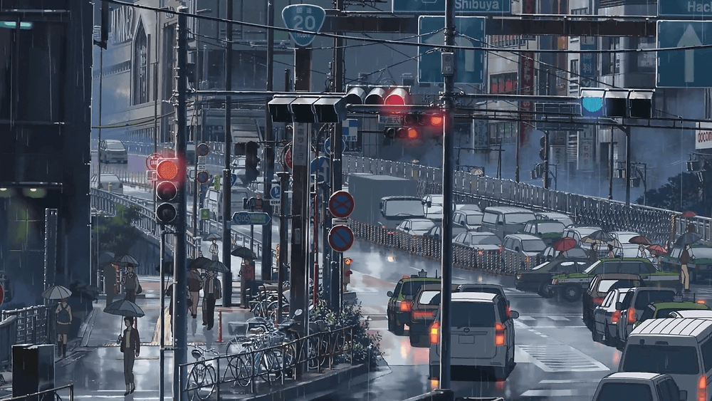 Japanese city traffic, from the anime film Garden of Words, by Makoto Shinkai