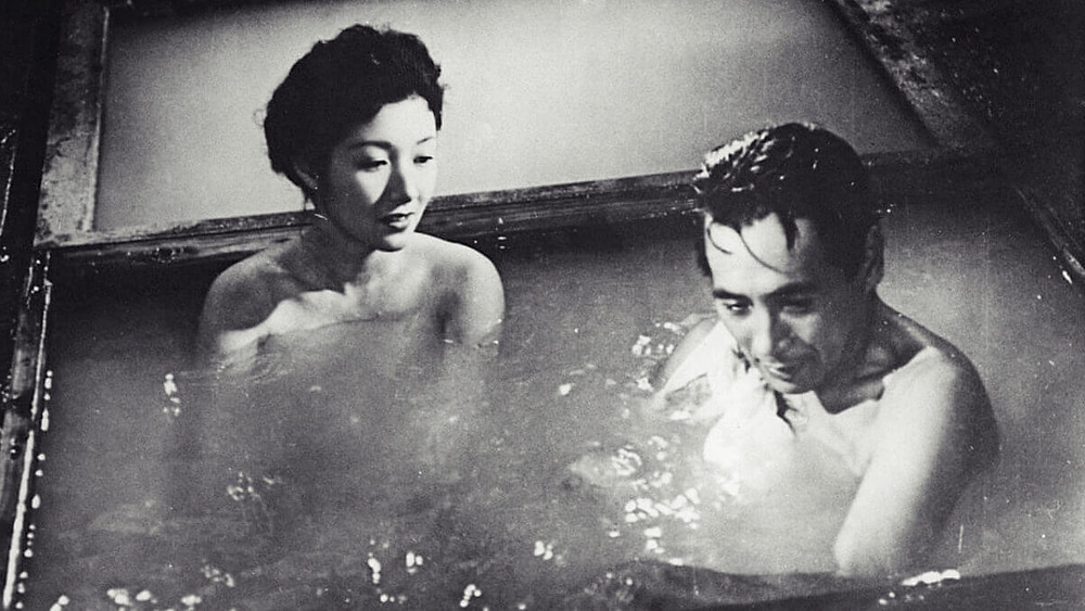 Japanese couple at a hot spring. Scene from the Japanese movie Yearning (1964) by Mikio Naruse.