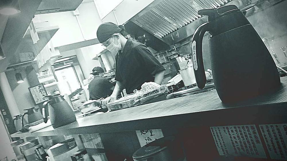 Ramen chef at Menya Buraiton, Hatanodai, Tokyo.
