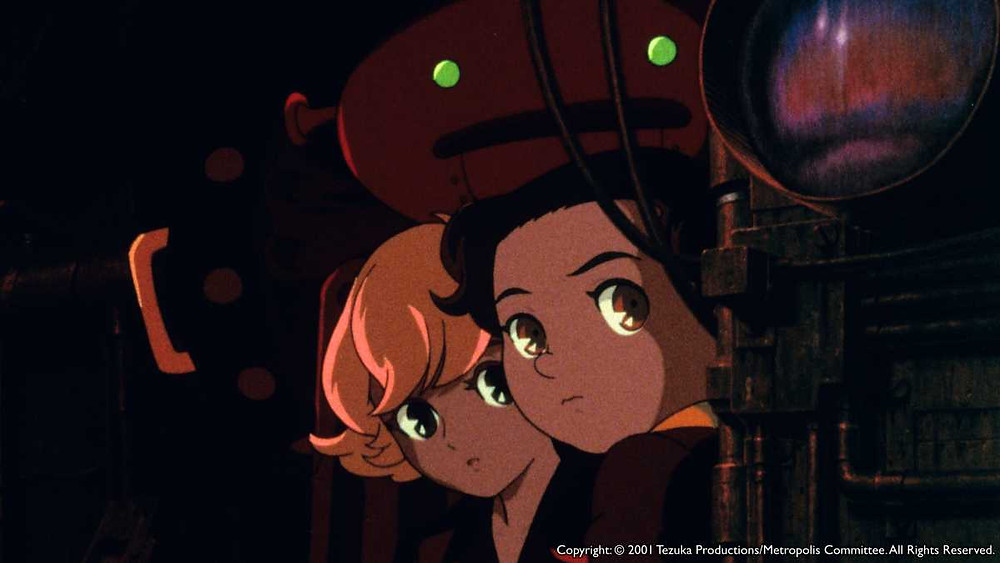 Tima, Kenichi, and a robot looking out from the shadows. Taken from the anime film Metropolis (2001).