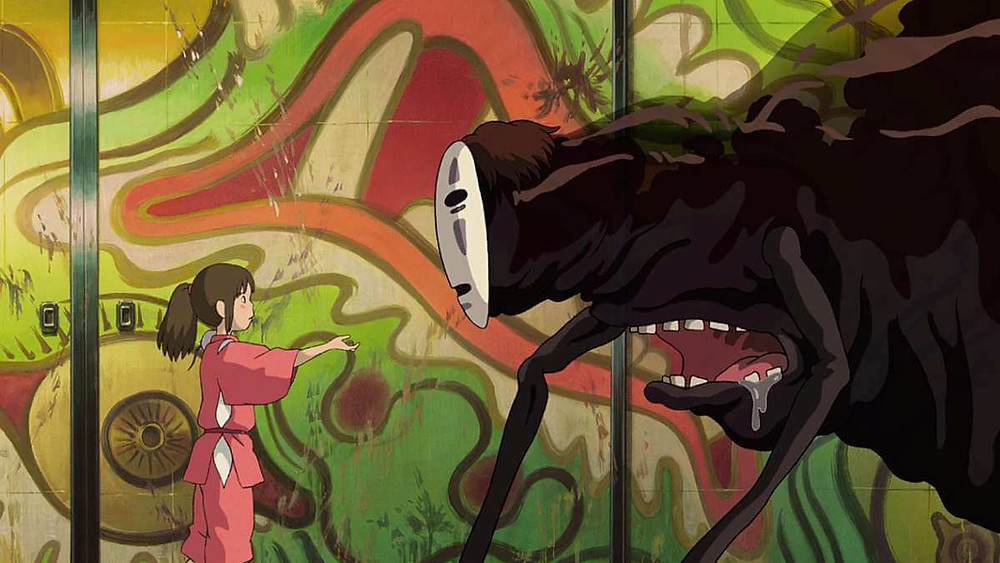 Chihiro offering a helping hand to No-Face. Taken from the anime film Spirited Away.