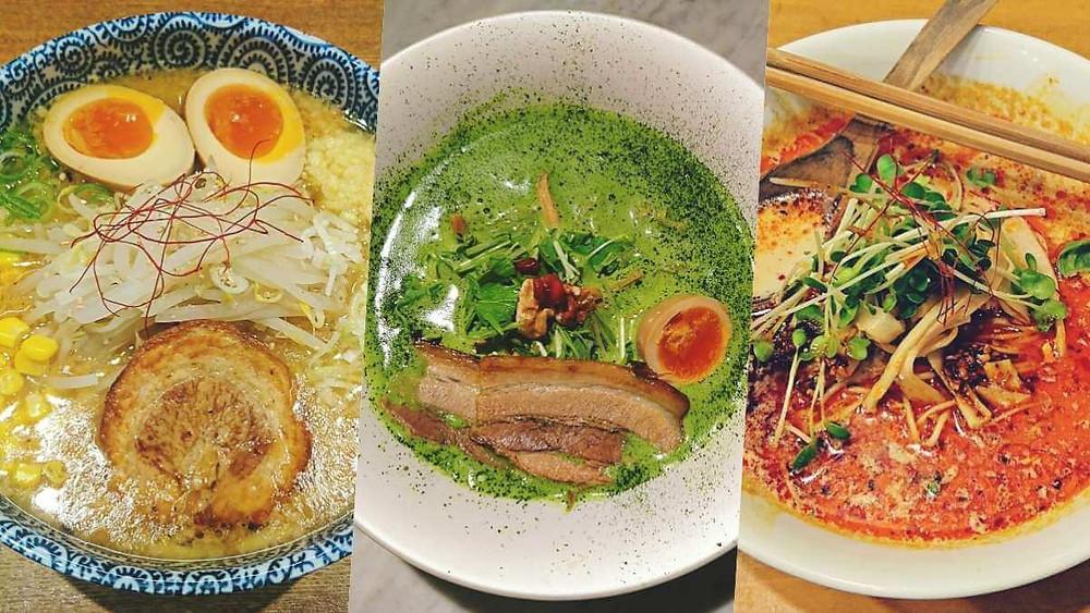 Three ramen bowls from three different ramen bars in Tokyo.