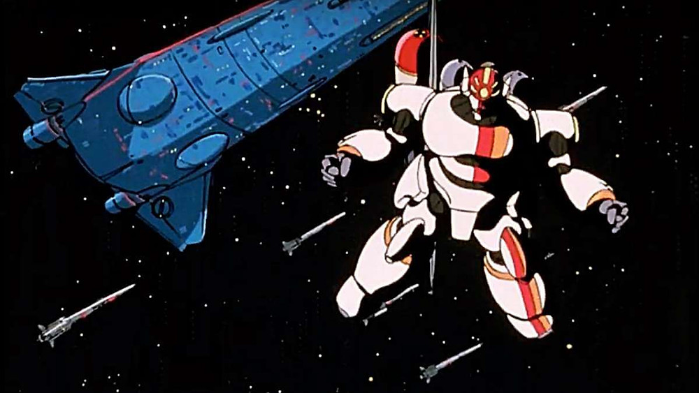 A Gunbuster robot floating in space, surrounded by spaceships and rockets.