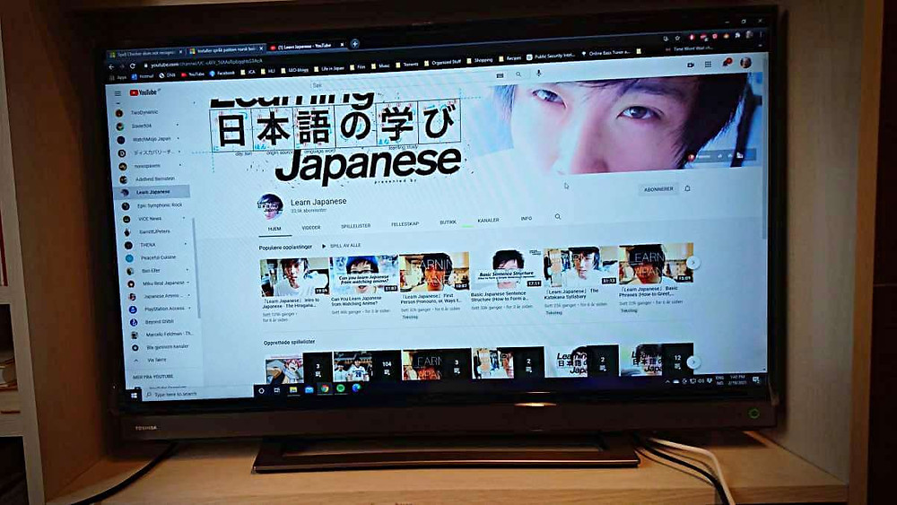 A TV showing the best YouTube-channel for practicing for JLPT N3.