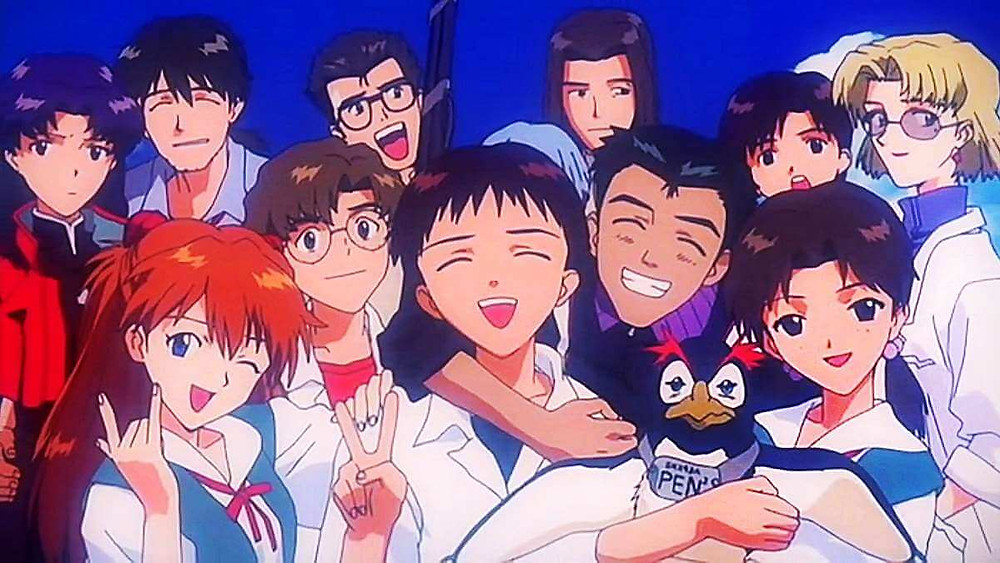 The characters from The End of Evangelion pose for a «class photo».