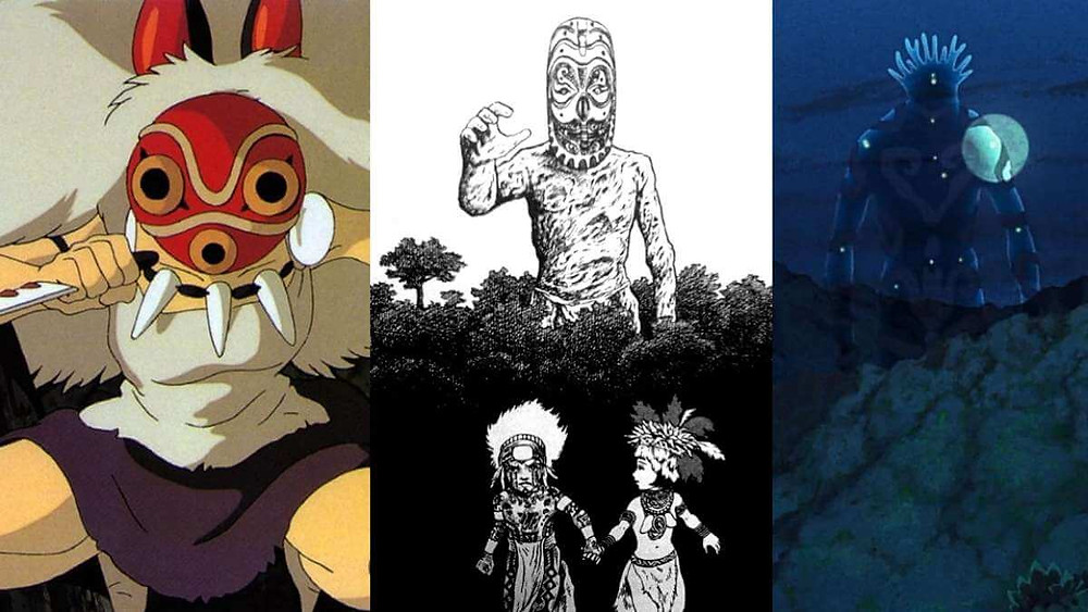 Comparing images from the anime film Princess Mononoke and the manga called Mudmen.