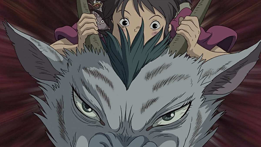 Chihiro riding a dragon in suspense. Taken from the anime film Spirited Away.