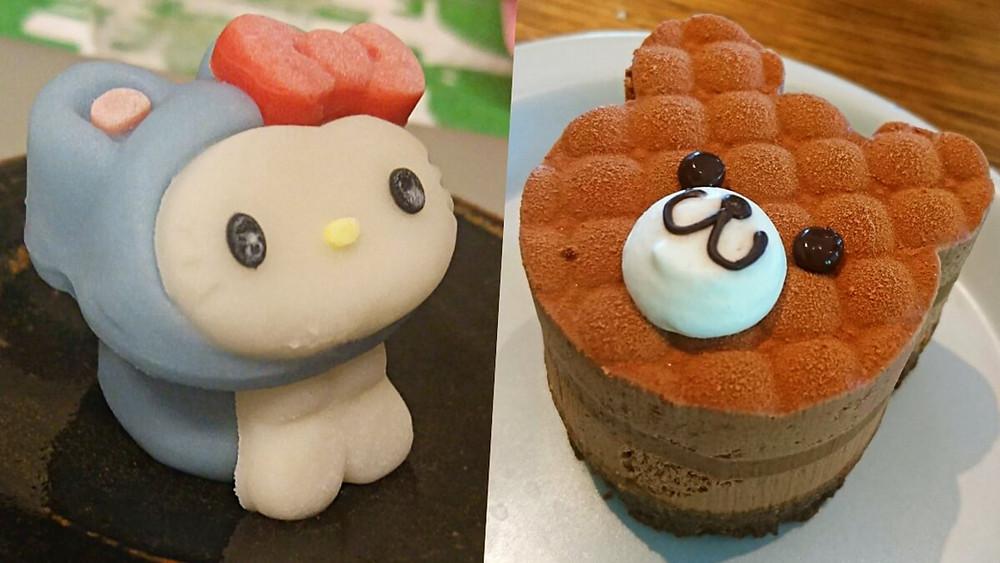 Kawaii Japanese pastry shaped as Hello Kitty and a teddy bear