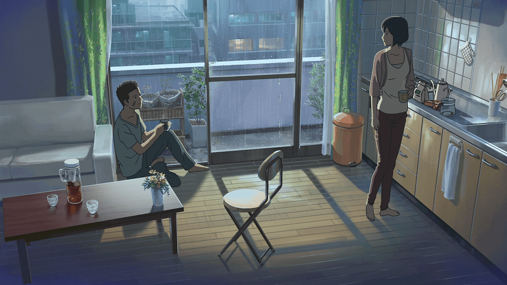 Inside of Japanese apartment, from the anime film Garden of Words, by Makoto Shinkai