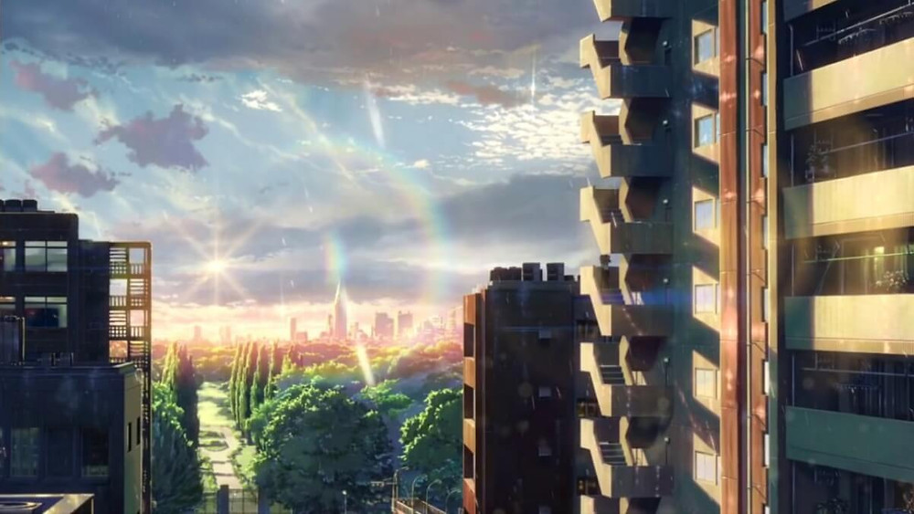 Amazing cityscape animation, from the anime film Garden of Words, by Makoto Shinkai