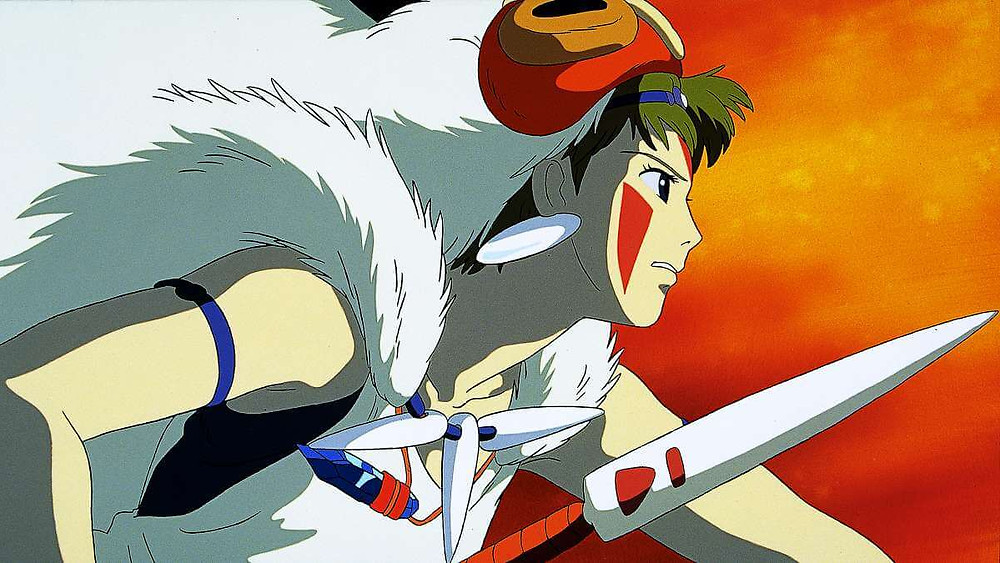 Anime warrior princess storming forth with spear in hand, taken from Princess Mononoke, directed by Hayao Miyazaki.