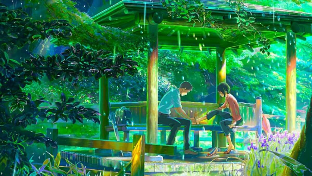The two main characters in the anime film Garden of Words, by Makoto Shinkai