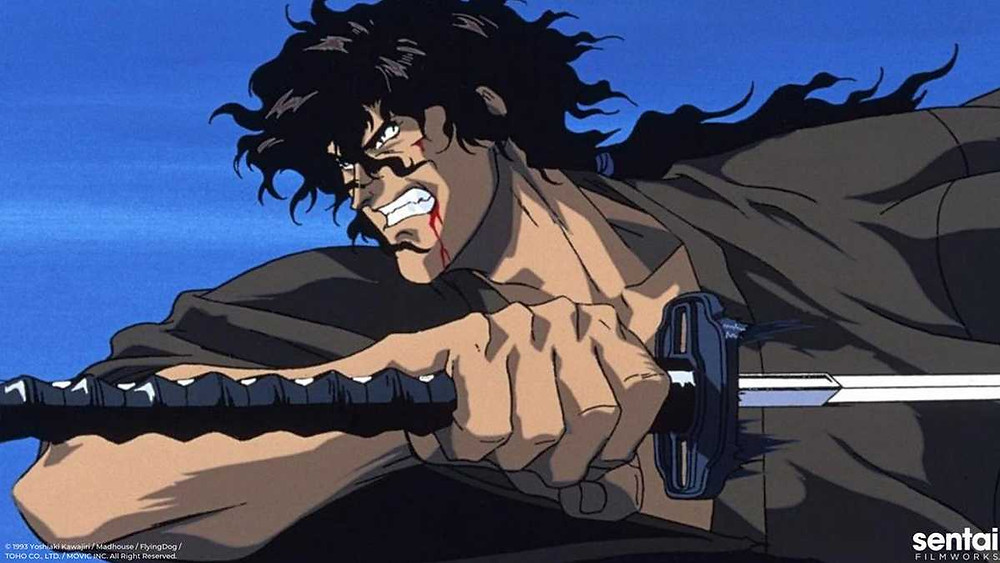 Close-up of Jubei from anime film Ninja Scroll as he gets ready to slash someone open with his katana.