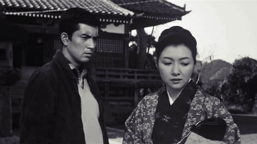 A Japanese couple argues, in a scene from the Japanese movie Yearning (1964).