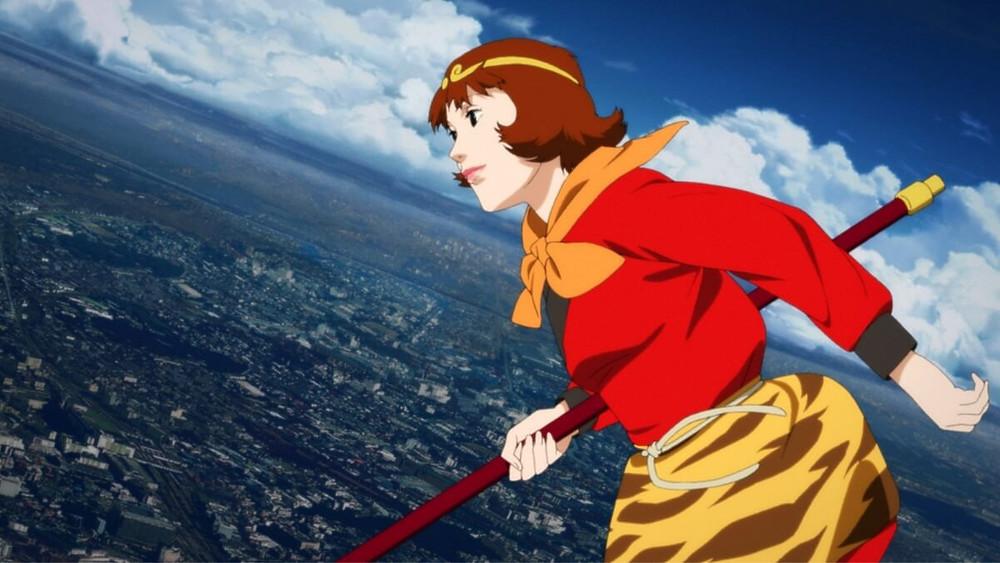 Anime girl flying over Tokyo. From the Satoshi Kon-film Paprika