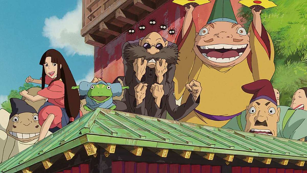 A bunch of Japanese mythological creatures cheering. Taken from the anime film Spirited Away