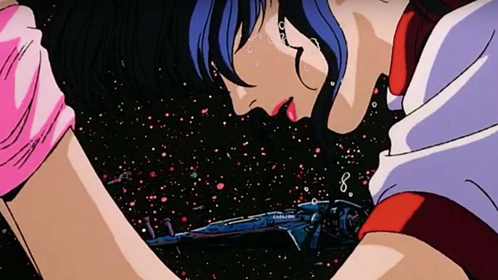 80s anime-girl floating in space. A huge spacecraft in the background. Taken from Gunbuster anime, by Hideaki Anno.