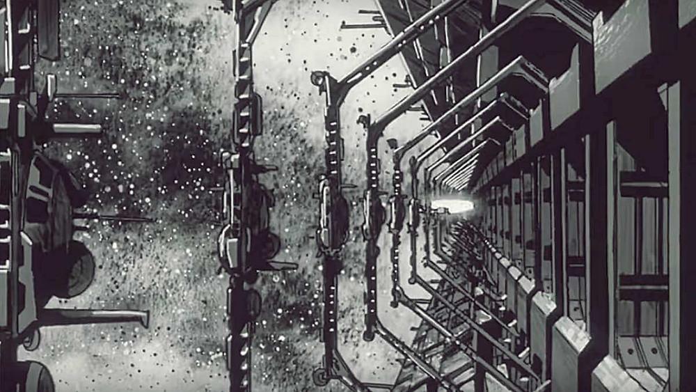 Sci-Fi architecture from Gunbuster anime, by Hideaki Anno.