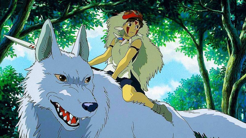 Princess Mononoke riding a giant white wolf. Taken from the Japanese anime film Princess Mononoke.