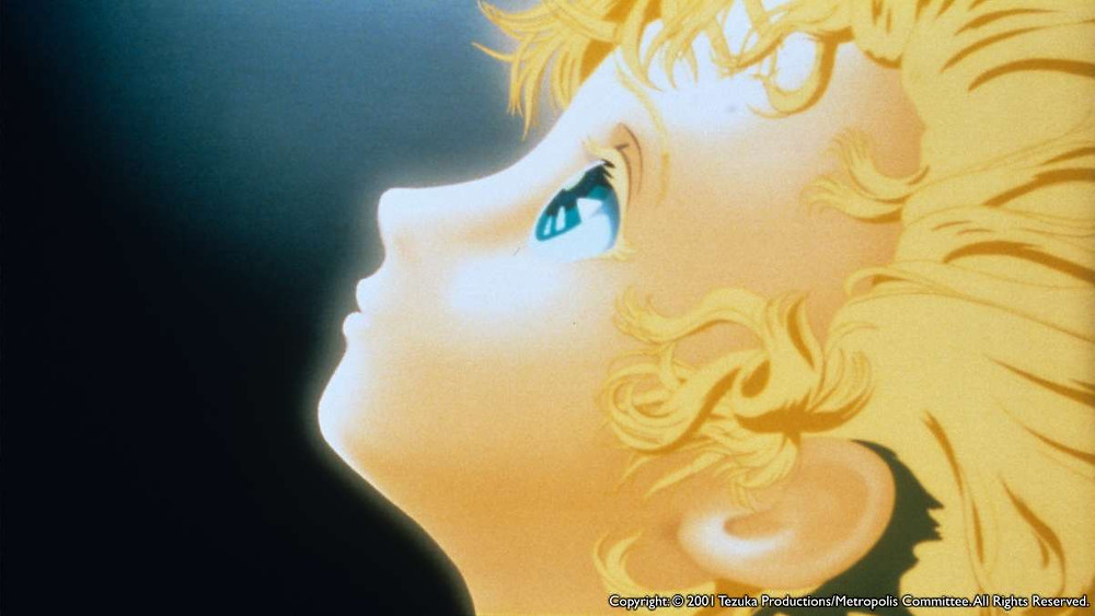 Tima from the anime film Metropolis (2001) is looking up towards the sky.