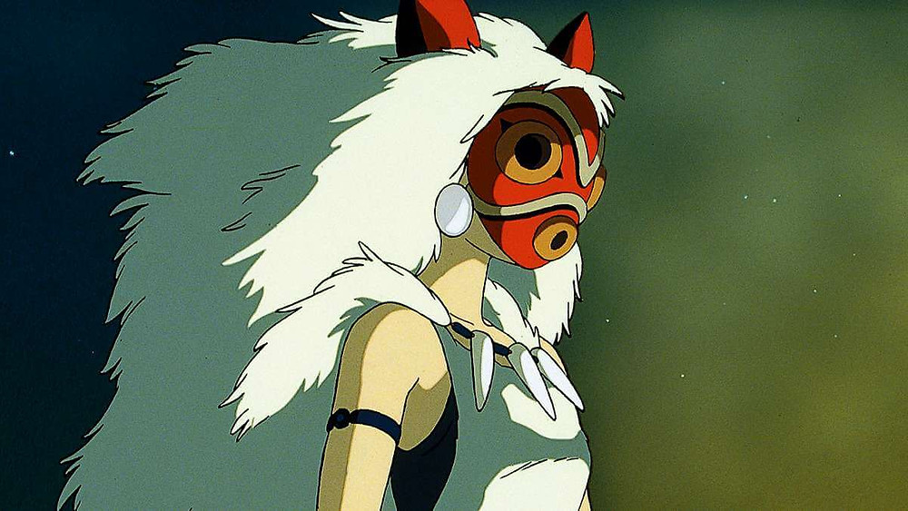 Anime girl wearing an ominous mask. Taken from the anime film Princess Mononoke.