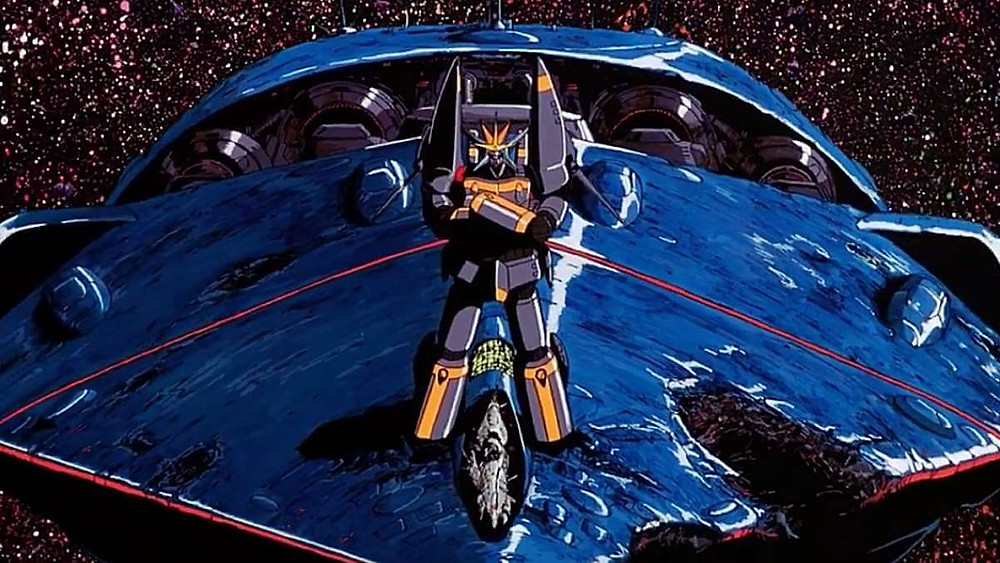 Gunbuster standing guard on the hood of a spaceship. Taken from Gunbuster anime, by Hideaki Anno.