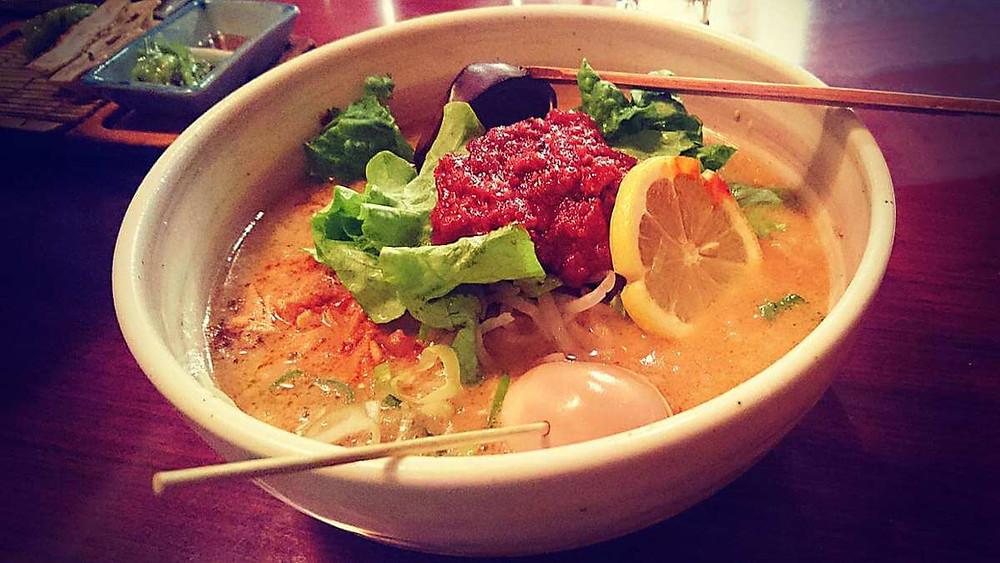 Spicy miso ramen at Ginza ABC Ramen in Tokyo.