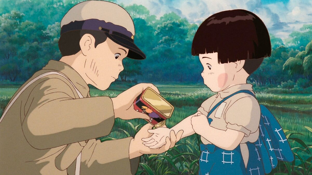 Scene form the studio Ghibli anime film; Grave of the Fireflies