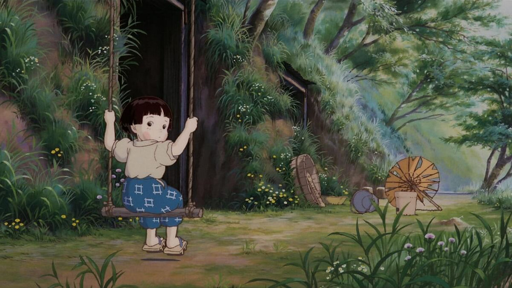 Somber scene from the Ghibli anime Grave of the Fireflies