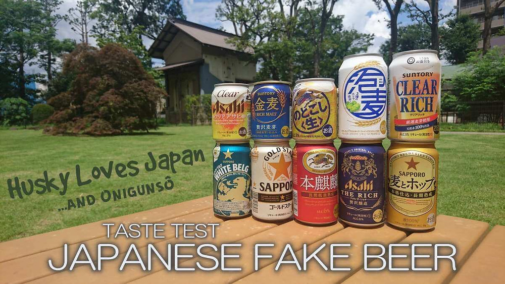 Top 10 Japanese fake beers, aka Happoshu, aka The Third Beer, standing on a table in a Japanese park in front of an ancient storage house.