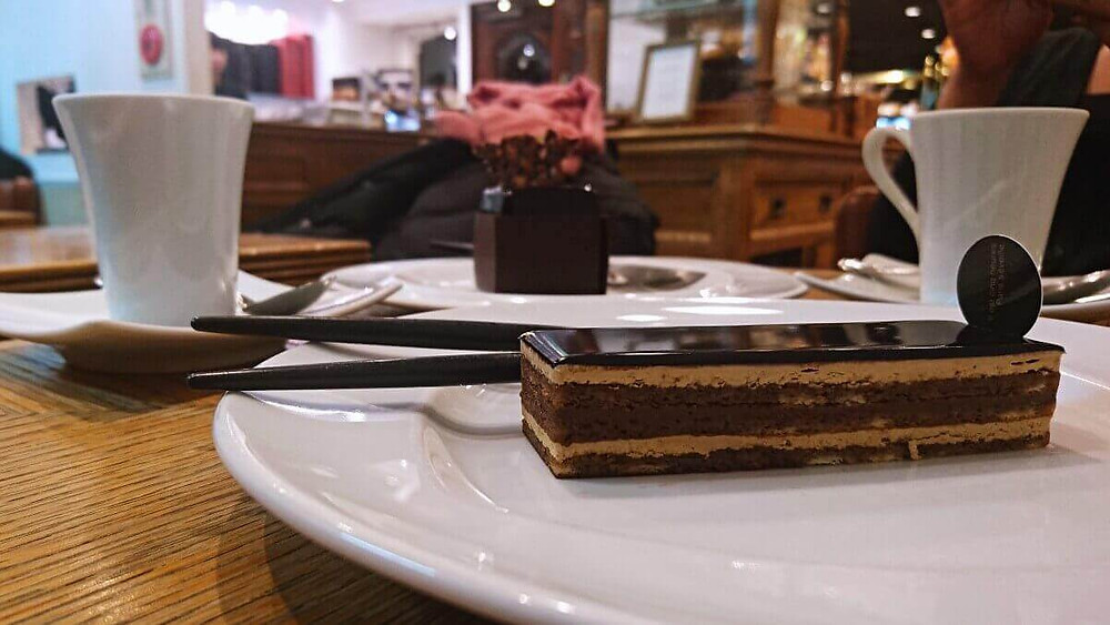 Chocolate cake and espresso at Patisserie Paris S'eveille