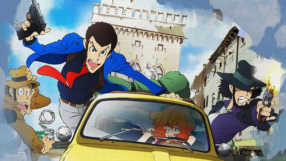 Lupin the Third in a car chase with his entourage. Fanart inspired by Castle of Cagliostro.